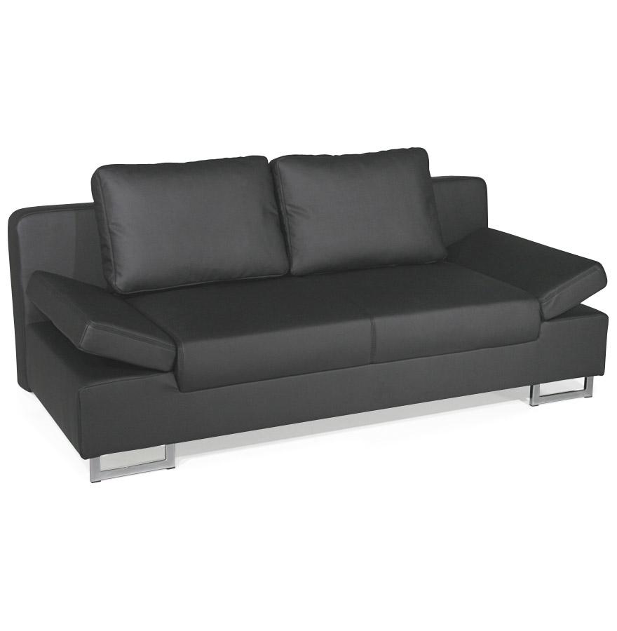 Canap lit convertible 39 bed 39 en similicuir noir 2 places ebay - Canape a prix d usine ...