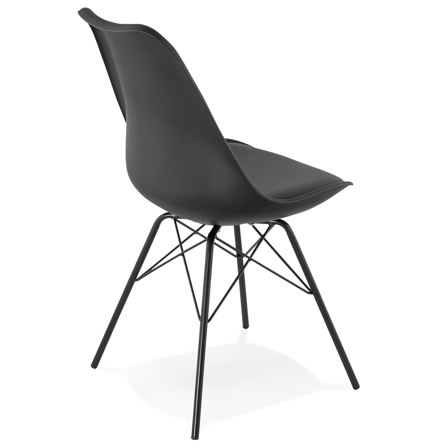 Chaise design byblos noire style industriel - Chaises style industriel ...