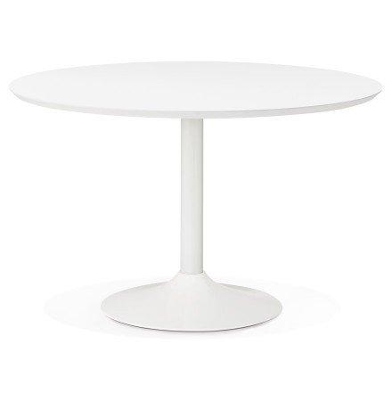 Table à diner/de bureau ronde BARABAR en bois blanc - Photo 1
