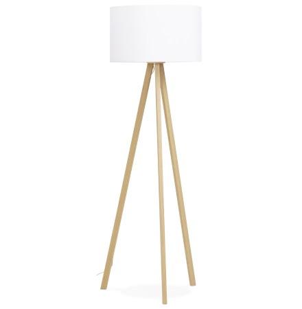 Lampadaire SPRING avec abat-jour blanc et 3 pieds naturels - Photo 2