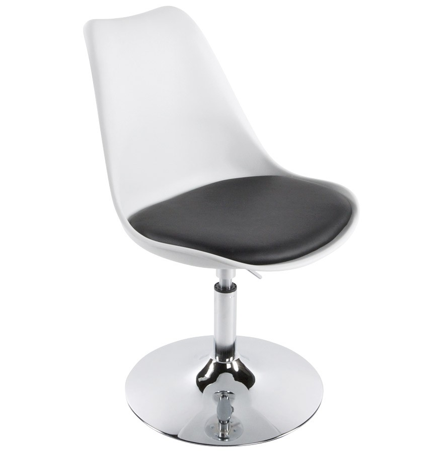 Chaise moderne pivotante queen r glable blanche et noir - Chaise blanche et noir ...