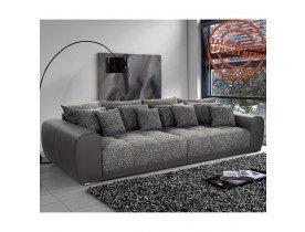 Grand canapé droit 'BYOUTY' gris foncé 4 places en similicuir et tissu