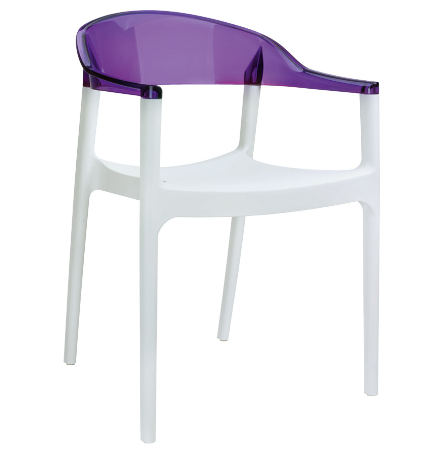chaise design 39 ema 39 blanche et violette en mati re plastique ebay. Black Bedroom Furniture Sets. Home Design Ideas