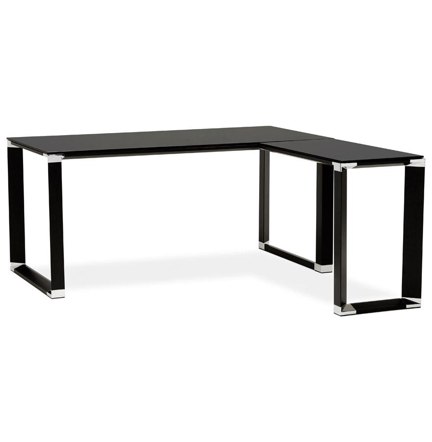 bureau d 39 angle design xline en verre noir bureau de direction. Black Bedroom Furniture Sets. Home Design Ideas